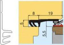 L 7005 Srázový těsnící profil pro dvoukřídlá okna, béžový, falc 12 a 19mm