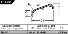 KŘÍDLOVÁ OKAPNICE FP 8532, EV1 STŘÍBRNÁ
