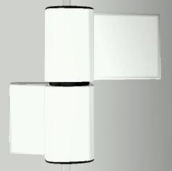 Dveřní pant S60AT-2 M7116E000 84/42+42mm, RAL9016 bílý