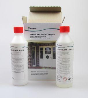 TEKNOCARE 4251-00 renovační sada pro dřevěná okna a dveře, TEKNOCLEAN čistič + TEKNOCARE ošetřovací balzám, 2x500ml