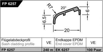 Křídlová okapnice FP 6257, RAL9016 bílá