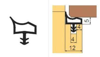L 8002 Těsnící profil do zárubní 12mm TPE béžový