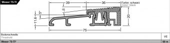 Dveřní práh Weser 75 TI s termostatem, stříbrný