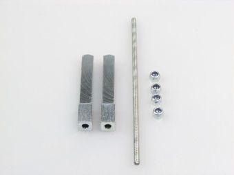 Dělený čtyřhran s přechodem z 9mm na 8mm 60+60mm pro panikové zámky klika-klika
