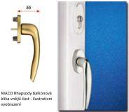 Balkonová klika s rozetou Rhapsody, vnější, vysoká PZ, bílá RAL 9016